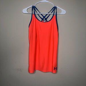 Under armour yxl running sport bra tank top orange